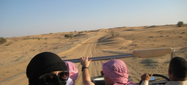 Sandy tracks and headscarves