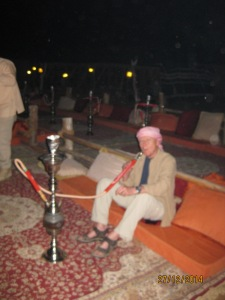 Paul enjoys the shisha pipe